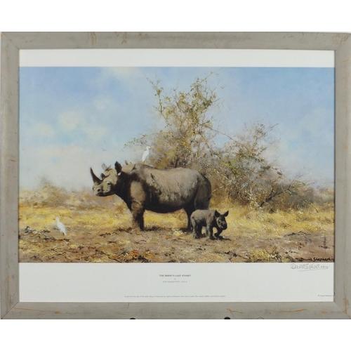 56 - David Shepherd - Pencil signed print, The Rhino's Last Stand, framed, 49cm x39cm...