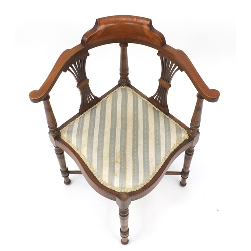 5 - Edwardian inlaid mahogany corner chair with striped upholstery, 73cm high...