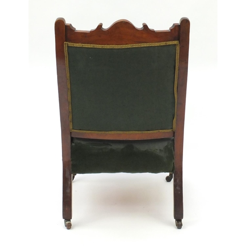 46A - Edwardian carved mahogany bedroom chair, with green upholstery, 90cm high...