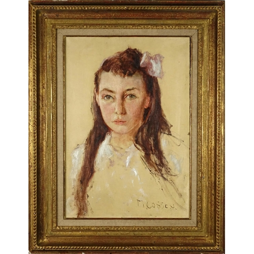 2154 - Head and shoulders portrait of a young girl, oil on canvas, bearing a signature M Cosson, mounted an...