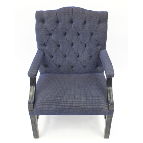 2003 - Mahogany framed Gainsborough style chair with blue and gold button back upholstery, 101cm high...