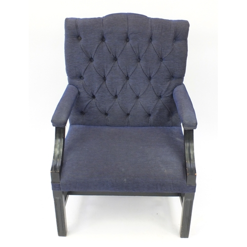 2009 - Mahogany framed Gainsborough style chair with blue and gold button back upholstery, 101cm high...