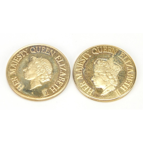 2794 - Two Elizabeth II 9ct gold coins commemorating The Silver Jubilee and 25 Anniversary of The Coronatio...