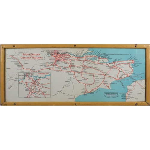 950 - South Eastern and Chatham Railway map, reproduced by courtesy of British Railways Board, framed, 65c...