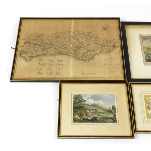 978 - Four antique and later maps and engravings including a map of Sussex engraved by J Cary, each mounte...