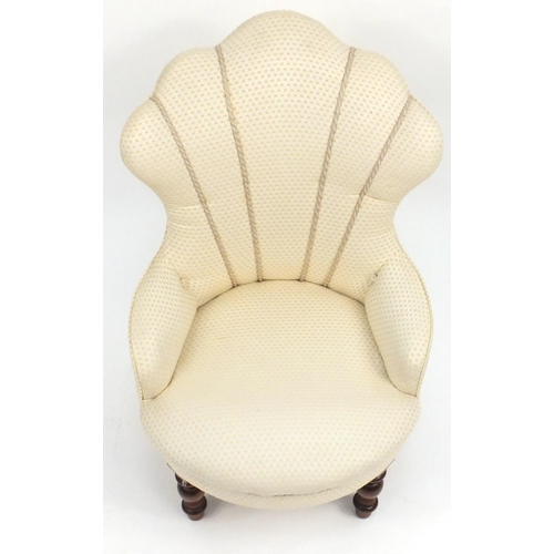 44 - Cloud back bedroom chair with cream upholstery, 81cm high...