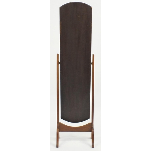 53 - Mahogany cheval mirror with bevelled glass, 154cm high...