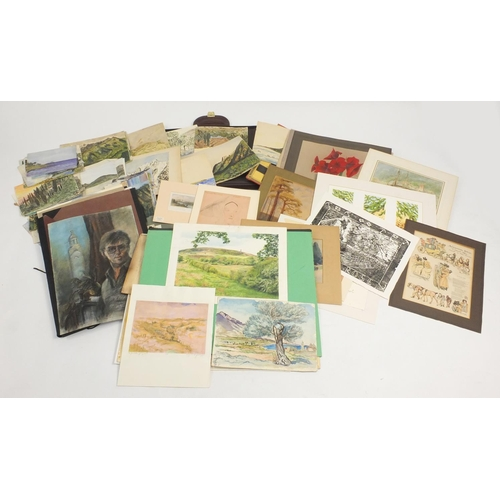 978A - Folio's of works including watercolours, oil paintings, prints and engravings...