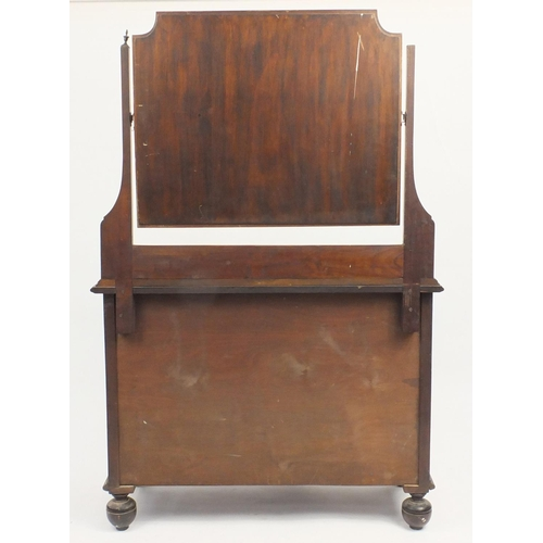47 - Edwardian inlaid mahogany four drawer chest with mirrored back, 161cm H x 106cm W x 48cm D...
