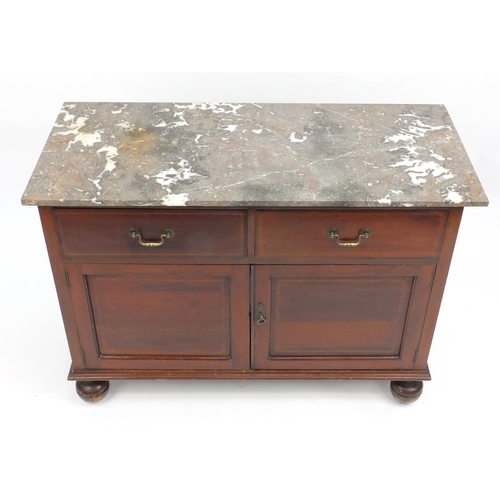 10 - Inlaid mahogany wash stand with marble top, fitted with two drawers and a pair of cupboard doors, 80...