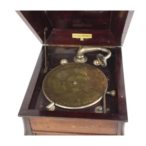 43 - Edwardian inlaid mahogany Fullotone gramophone cabinet