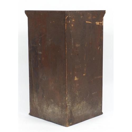 27 - Arts & Crafts style parquetry corner cupboard, 91cm H x 69cm W x 47cm D...