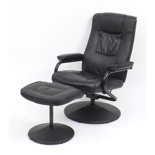 9 - Birlea black leatherette easy chair and foot stool...