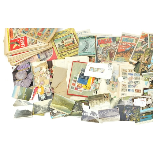 967 - Ephemera including Edwardian and later postcards, stamps and picture post magazines...
