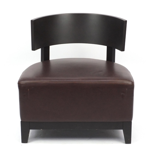 15 - Contemporary RHA reception chair with brown leather seat, 74cm high...