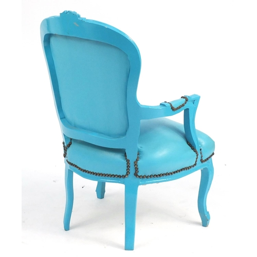 28 - French style blue painted occasional chair, with blue leather upholstery...