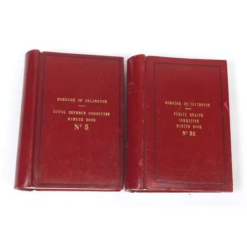 951 - Borough of Islington's Public Health Committee and Civil Defence minute books, 40cm in length...