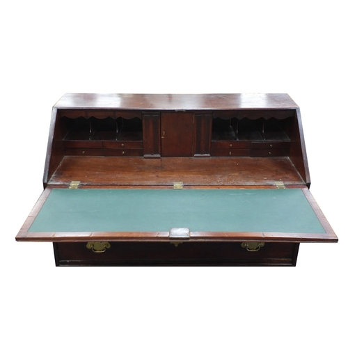 8 - *Description amended 03-04-19* Georgian Mahogany bureau fitted with a fall and fitted interior above...