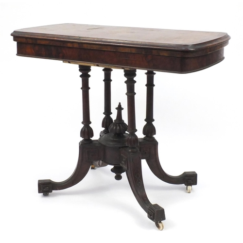 4 - Inlaid walnut fold over card table with quadruple column supports, 77cm H x 90cm W x 45cm D (folded)...