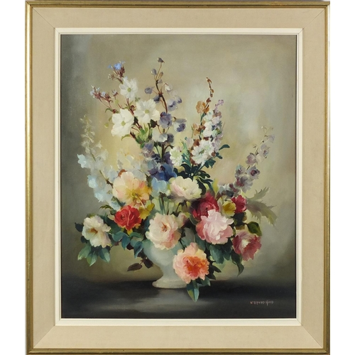 1195 - William Reynard Hoot - Still life flowers in a vase, oil on canvas, Stacy Marks and printed label ve...