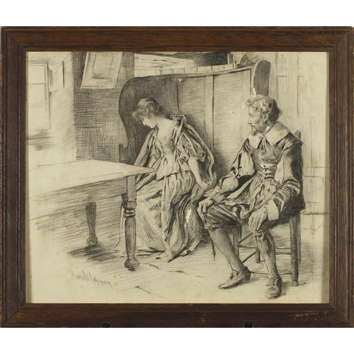 1200 - Harold Copping - Two figures in an interior, black chalk on card, inscribed verso, framed, 29cm x 24...