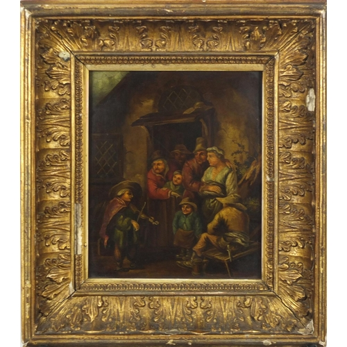 1161 - Figures outside listening to a fiddler, antique continental school oil on copper panel, inscribed la...