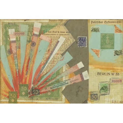1206 - Abstract composition, German school mixed media and collage, bearing a monogram K SCH, mounted and f...