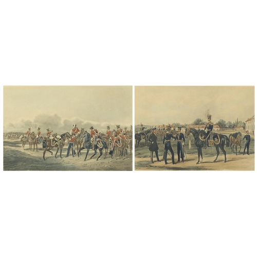 1427 - Thirteen light dragoons 1835 and XIV Kings light dragoons, two Military interest aquatints, one engr...