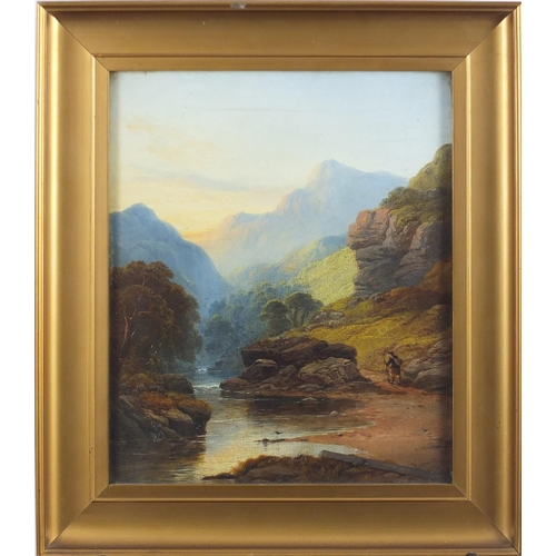 1194 - J B Sticks 1874 - Figure beside water before mountains, Inverness Scotland, 19th century oil on canv...