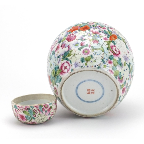 403 - Large Chinese porcelain thousand flower ginger jar and cover, hand painted in the famille rose palet...
