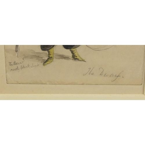 1157 - Rex John Whistler - Dwarf, watercolour, Abbott & Holder label detailing an exhibition verso, mounted...