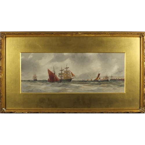 1191 - William Cannon 1900 - Off Deal, ships on rough seas, watercolour, inscribed label verso, mounted and...