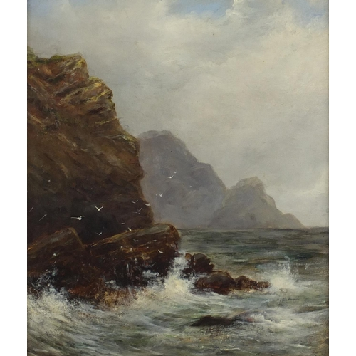 1159 - Coastal scene with waves crashing against rocks, early 20th century oil on canvas, bearing a monogra...