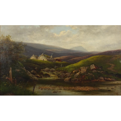 1192 - Extensive mountain landscape with a river before two cottages and cattle, 19th century oil on canvas...