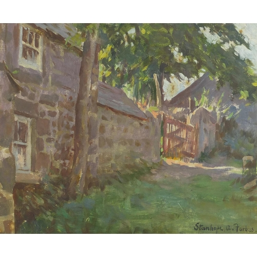 1153 - Stanhope Alexander Forbes - Exterior of a cottage with gates, oil, Rowley label verso, mounted and f...
