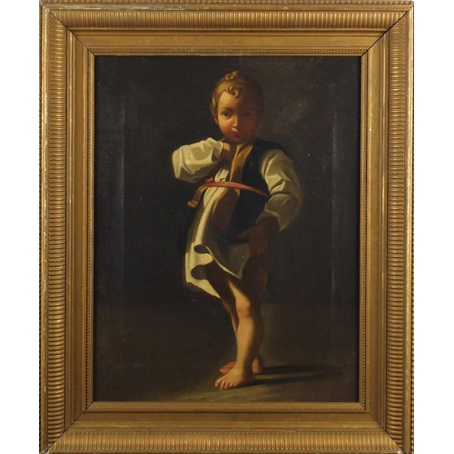 1182 - Full length portrait of a young boy, 19th century continental school oil on canvas, framed, 44cm x 3...