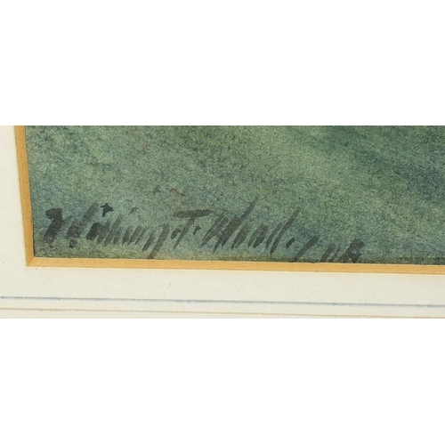 1167 - William Thomas Wood - Moonlit Del, signed watercolour, label verso, mounted and framed, 51cm x 34.5c...