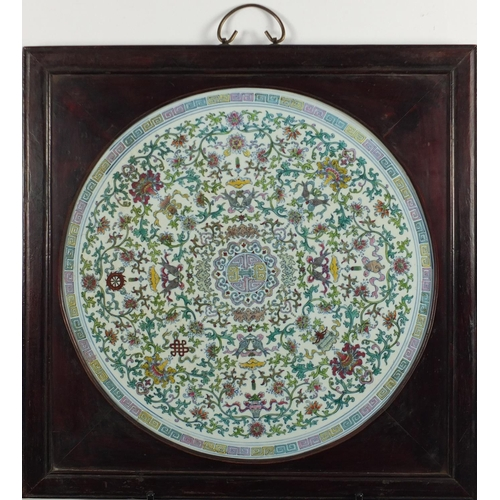 400 - Large Chinese circular Doucai porcelain panel, finely hand painted with Daoist emblems amongst flowe...