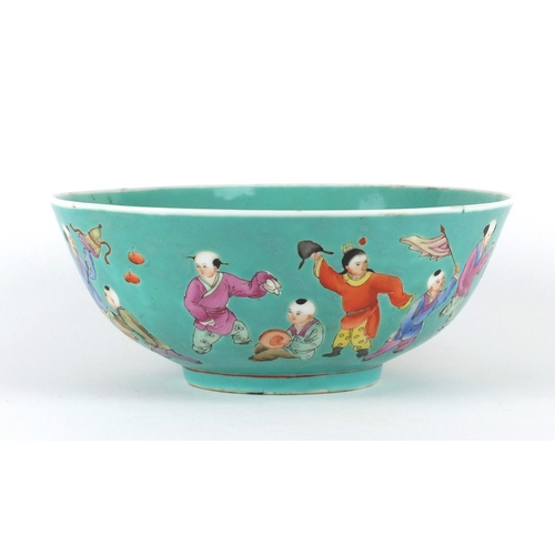 394 - Chinese turquoise ground bowl, finely hand painted in the famille rose palette with a continuous ban...