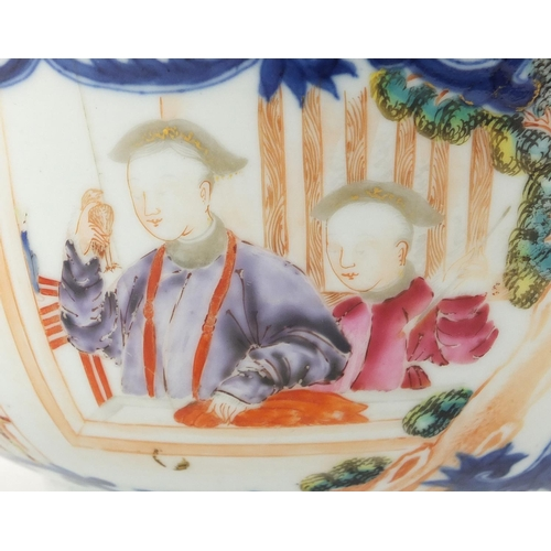 404 - Chinese porcelain footed bowl, hand painted in the famille rose palette with figures and flowers, 25...
