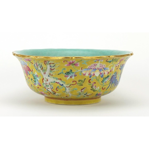431 - Chinese porcelain yellow ground bowl with turquoise interior, finely hand painted in the famille ros...