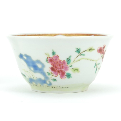 421 - Chinese porcelain tea bowl and saucer, finely hand painted in the famille rose palette with cockerel...