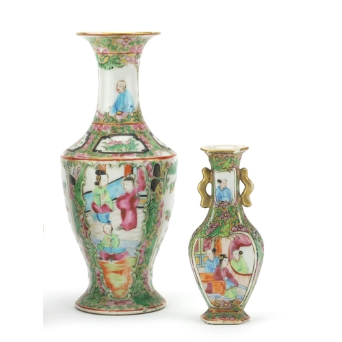 429 - Three Chinese porcelain vases including two Cantonese examples hand panted with figures, the largest...