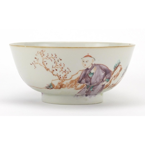 420 - Chinese porcelain footed bowl, hand painted in the famille rose palette with figures in a landscape,...