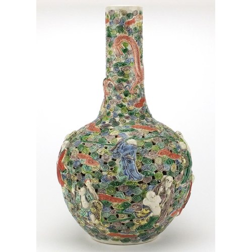 422 - Large Chinese porcelain famille verte vase, decorated in relief with figures and dragons amongst clo...