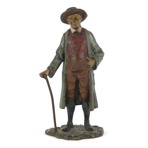 2 - Franz Bergmann cold painted bronze of a gentleman holding a stick, impressed marks and numbered 7294...