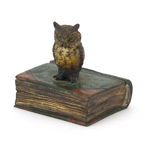 3 - Franz Bergmann style cold painted bronze stamp holder, in the form of an owl and book, 4.5cm high...
