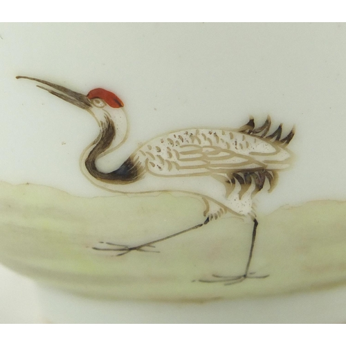 414 - Chinese porcelain tea bowl, finely hand painted with a figure beside a pine tree and a crane, blue r...