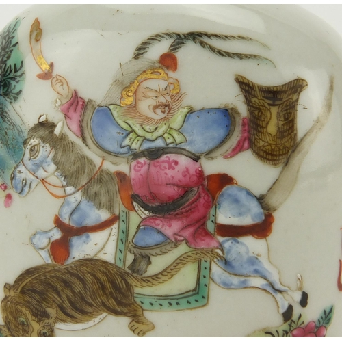 402 - Chinese porcelain snuff bottle, finely hand painted in the famille rose palette with an Emperor and ...