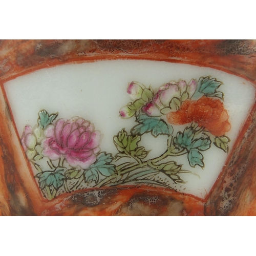 406 - Chinese porcelain vase of naturalistic form, hand in the famille rose palette with panels of flowers...